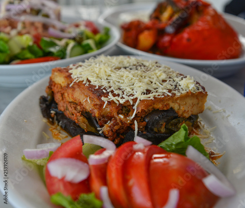 Photo Stands Ready meals Baked cake with pork and cheese