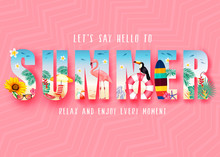 Summer 3D Realistic Stylish Modern Design Banner In Pink Patterned Background With Clipped Tropical Elements Like Palm Trees, Sunflower, Beach Ball, Toucan, Flamingo, Umbrella And Bench. Vector