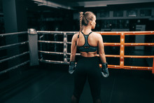 Strong Muscular Boxer Woman St...