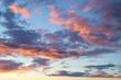 Leinwandbild Motiv Wolkiger, dramatischer Himmel am Abend - rote Wolken