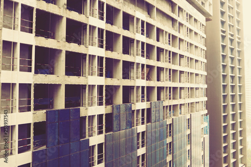 Close up Under construction new Condominium Building at Kuala Lumpur, Malaysia Canvas Print