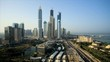 Elevated daytime time lapse view of Media and Internet city Dubai UAE