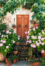 Door With Flower Pienza Town, ...