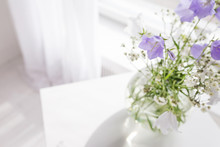 Glass Vase With Lilac And Whit...