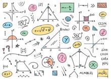 Handwriting Math Symbols. Mathematical Drawings. Mathematical Shapes