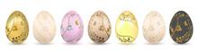 Easter Egg 3D Icon. Pastel Eggs Set, Isolated White Background. Floral Hand Drawn Design, Flower Branch Leaf Decoration Pattern Happy Easter Celebration. Holiday Element Symbol. Vector Illustration