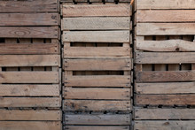Wooden Crates Stacked On Top O...