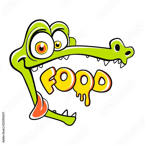 Fotografie, Obraz  Hungry crocodile with open mouth and empty space, cartoon personage for cafe
