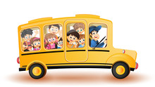 Back To School Concept, Illustration Of School Bus With Cute Kids Character.