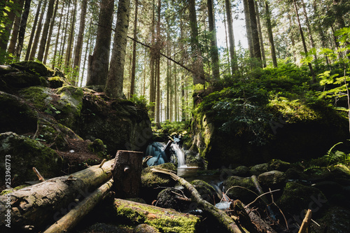 Photo  Waterfall in the national park Sumava in the Czech Republic