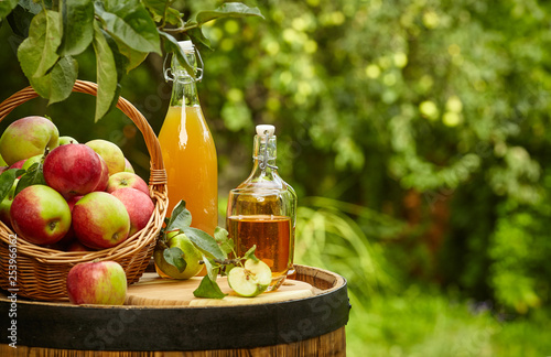 Leinwand Poster apples on background orchard standing on a barrel