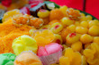 Many Thai desserts are arranged in a beautiful and appetizing dish.