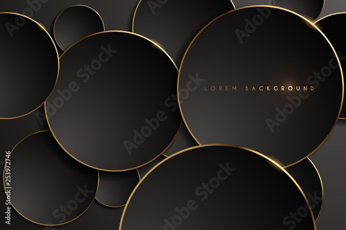 Valokuva  Gold and black round shape background