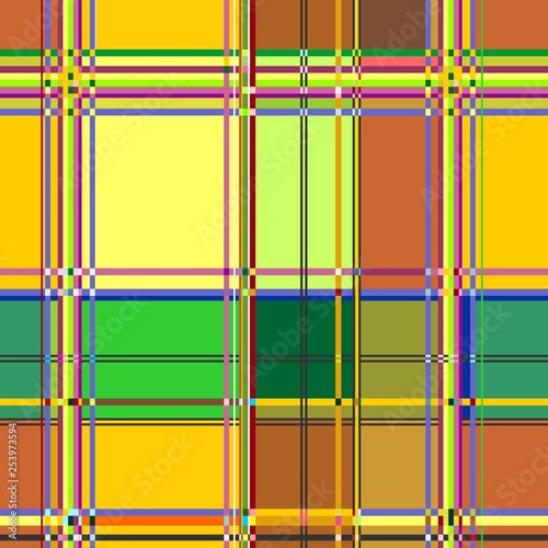Photo sur Toile Draw Caribbean Colorful Fabric Madras Vector Seamless Pattern Texture
