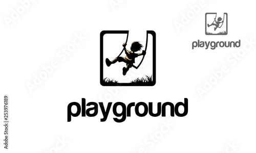 Playground Vector Logo Illustration. Iconic logo design of child silhouette sitting on swing.