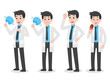 Set of Doctor holding fan have heatstroke in summer concept, hot weather, cartoon character vector in flat design Medical Health care Life.