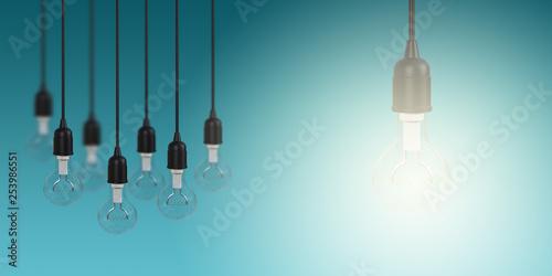 Fotografía  Glowing Light Bulb Creativity Concept