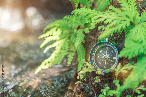 Fotografie, Obraz  Compass put on the rock with green plant near waterfall with sunlight