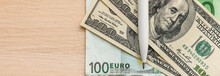 Background With Money American One Hundred Dollar Bills Euro Banknotes A Ballpoint Pen Next