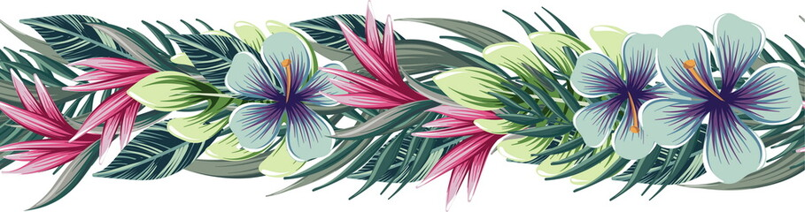 Fototapeta Egzotyczne vector floral seamless border with tropical plants