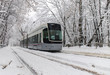 The tram in the snow