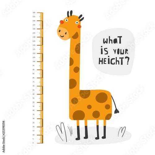 Poster de jardin Zoo Kid height measurement, centimeter, chart with giraffe for wall