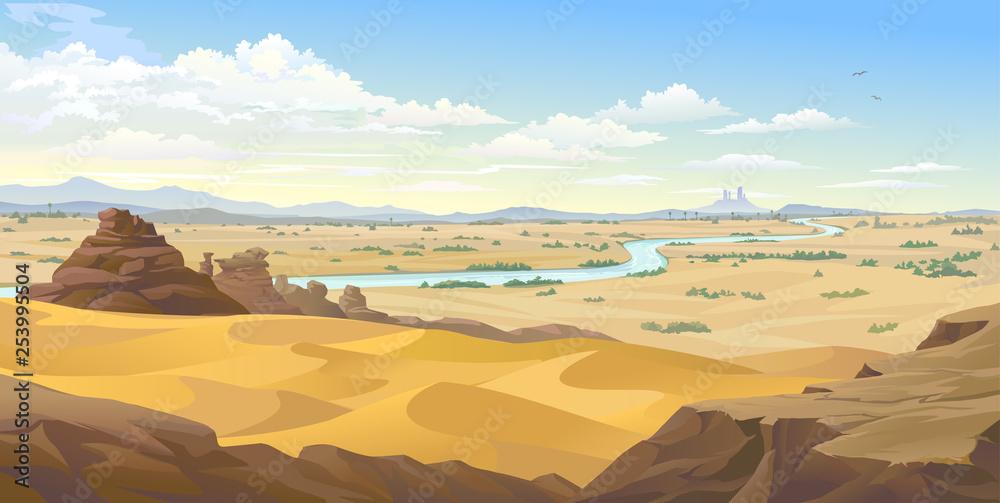 Fototapeta An Egyptian river flowing across the endless Sahara Desert.