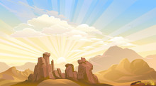 Sunrise Above The Ancient Desert Mountains.