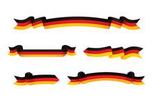 Germany Flag Ribbon Isolated On White Background. Vector Illustration