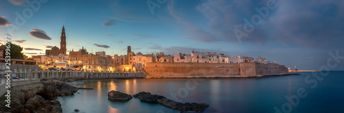 Photo Sunset panorama of Monopoli harbor in the Metropolitan City of Bari and region o