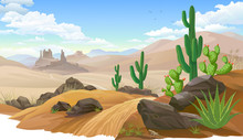Sandy Desert, Saguaro Cactus Vegetation. Mountain Like Sand Dunes.