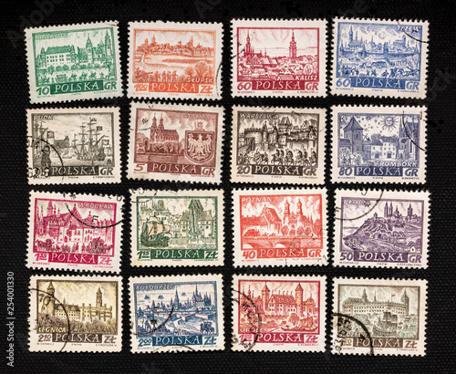 Valokuva  Polish cities on vintage post stamps
