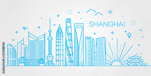 Shanghai architecture line skyline illustration Wallpaper Mural