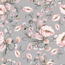 Seamless Pattern With Leaves And Flowers. Floral Background Design. Watercolor Illustration. The Original Pattern For The Production Of Fabrics.Pink Flowers.
