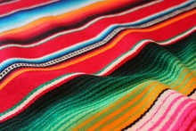 Mexican Poncho Cinco De Mayo Mexico Blanket Rug Background  Backdrop Traditional Mexican  Poncho Fiesta Background With Stripes Stock, Photo, Photograph, Image, Picture