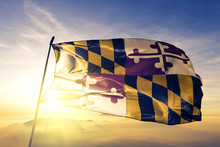 Maryland State Of United States Flag Waving On The Top Sunrise Mist Fog