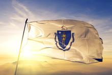 Massachusetts State Of United States Flag Waving On The Top Sunrise Mist Fog
