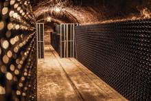 Winebottles In Wine Cellar Basement