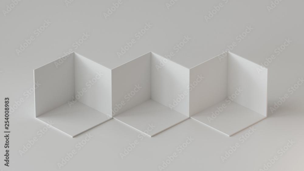 Fototapeta White cube boxes backdrop display on white background. 3D rendering.