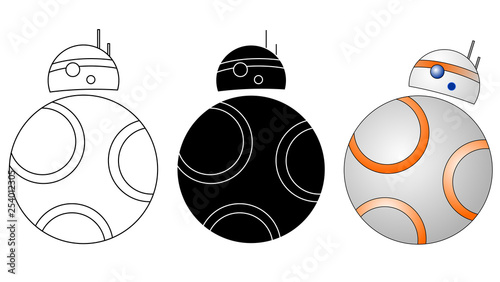 Photo Droid, robot icon set vector eps 10