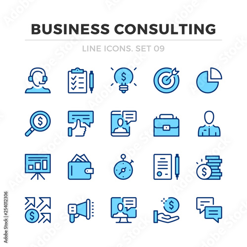 Business consulting vector line icons set Wallpaper Mural