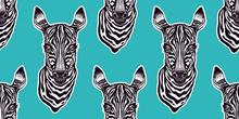 Big Eyed Cute Zebra Head Seamless Pattern.