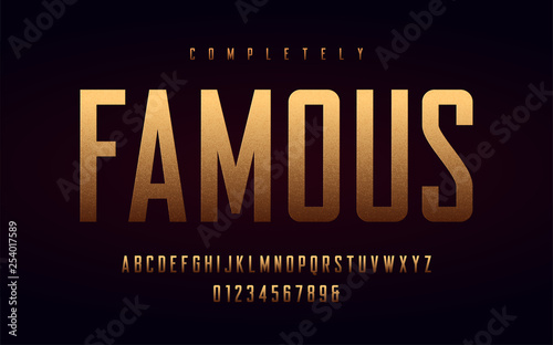 Fototapeta Condensed uppercase letters and numbers, alphabet with effect of the gold foil
