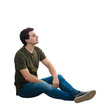 canvas print picture - relaxed man sitting on the floor