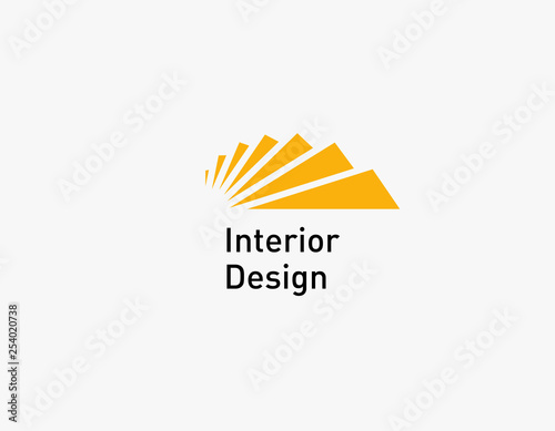 Logotype icon ladder yellow steps for interior design studio Wall mural
