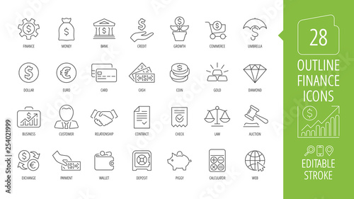 Fotografía  Vector business and finance editable stroke line icon set with money, bank, check, law, auction, exchance, payment, wallet, deposit, piggy, calculator, web and more isolated outline thin symbol