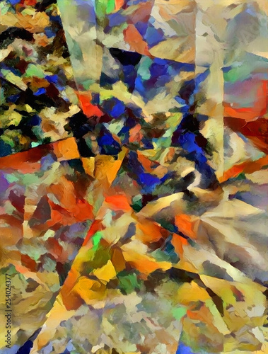 Fotografie, Obraz  Abstract painting with geometric figures
