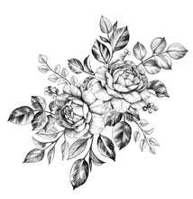 Hand Drawn Floral Bunch With R...