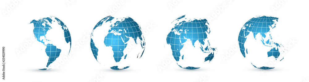 Fototapety, obrazy: Earth globe. World map set. Planet with continents. Vector Illustration