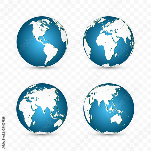 Earth globe. World map set. Planet with continents. Vector Illustration